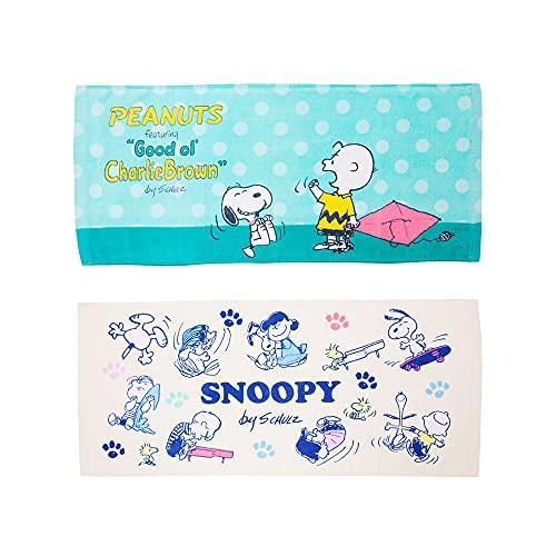 【 SNOOPY 】 フェイスタオル 2枚セット スヌーピー SNOOPY ピーナッツ PEANUTS タオル 綿100% (Gセット)