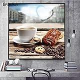 KWzEQ Imprimir en Lienzo Granos de café y Pan póster en imágenes Decorativas para la decoración del hogar de la habitación30x30cmPintura sin Marco