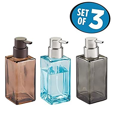 mDesign Foaming Glass Soap Dispenser Pump, Three-Piece Bathroom Accessory Set–Blue/Brushed, Smoke/Brushed, Sand/Bronze