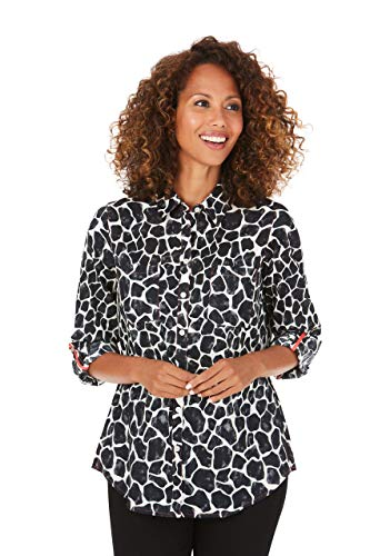 Foxcroft Zoey Wrinkle-Free Watercolor Giraffe Shirt (10) Black