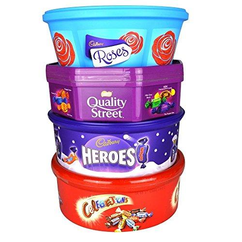 Christmas Chocolate Tubs - 4 PACK - Roses, Heroes,...