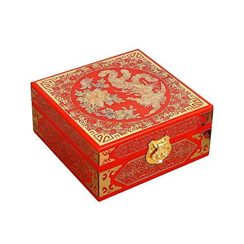 ALIANG Schmuckschatulle, chinesische Aufbewahrungsschachtel aus Holz, bemaltes Lackhandwerk Lackgeschirr Schmuckschatulle, Schmuckgeschenk Andenken Schatz Geschenkbox Geburtstagsgeschenk