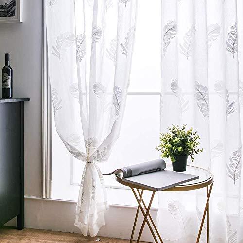MIULEE Cortinas Bordadas de Plumas Visillo Translucido de Dormitorio Diseño Moderno Cortina Transparente para Ventana Salon Cuarto de Niño Cocina Habitación Infatil 2 Hojas 140x145cm Pluma Blanco