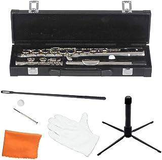 LVSSY-Flauta Chapada en Plata de Alto Grado Flauta C con Soporte Juego de Flauta para Principiantes con Caja de Cuero Soporte de Tela Varilla de Limpieza Boquilla Tornillo
