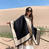 Bufandas Mujeres Poncho de Invierno Chal Abrigo Otoño e Invierno Tíbet Qinghai Lago Turismo Chal Bufanda Nepal Desierto Capa Étnica Capa Otoño Invierno Capa Hembra, Golden_flower, Negro,