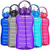 BuildLife Motivierende Wasserflasche, 2l, BPA-frei, mit Strohhalm und Zeitmarkierer/Erinnerung, um mehr täglich zu trinken, auslaufsicher, wiederverwendbar