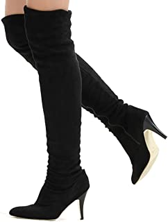 13f61318c971 Shoe N Tale Women Over The Knee High Stretchy Leather Thigh high Snow Boots
