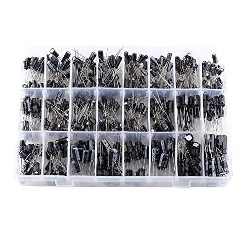 540 stuks 24 waarden Veel gebruikte aluminium elektrolytische condensator assortiment kit met opbergdoos elektrolytische condensator bereik 10V-50V 0.1uF tot 1000uF