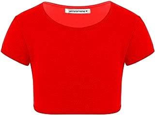 Janisramone Girls Kids New Plain Short Sleeve Stretch Summer Tee T-Shirt Crop Top 3-13 Years