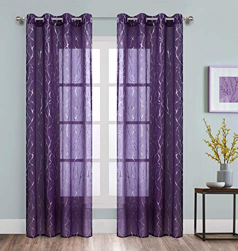 Silver Tree Floral Curtains for Nursery Purple Sheer Curtain 63 inch Length Grommet Window Drapes Tree Pattern for Bedroom 2 Pieces
