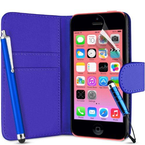 Supergets Flip Tasca PU Portafoglio Pelle Custodia Cover Per Apple Iphone 5C / 5 C+ Schermo Protezione , 2 x Touch Screen Stilo e Pulizia Panno - PORTAFOGLIO BLU SCURO