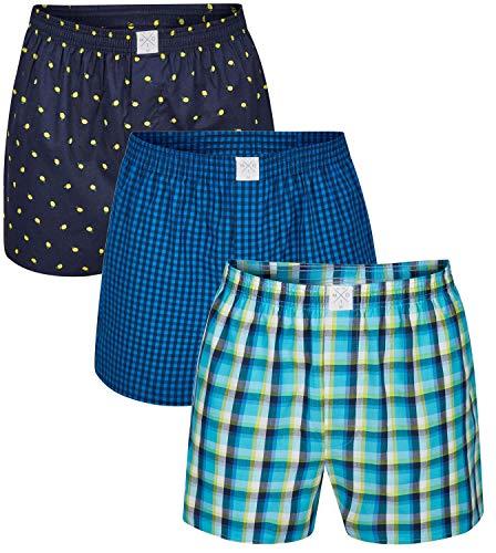MG-1 3 Stück Webboxer Boxershorts American Shorts Herren Sparpaket S - 6XL Farbwahl, Grösse:XXL - 8-56, Farbe:Design 011