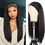 Kachanaa 22 Inch Black Kinky Headband Wig Long Natural Curly Glueless Synthetic Yaki Straight Wigs for Black Women for Daily Party(1B#)