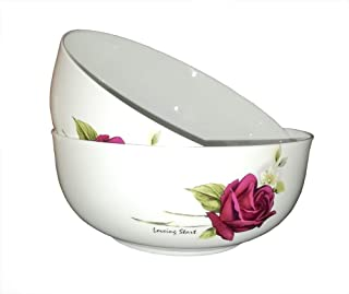 AnnoCasa 2 pieces Thin & Lightweight Bone China Large Bowls, for Fruit, Cheese, Vegetables Salad Bowl, 7 inches White with Red Rose