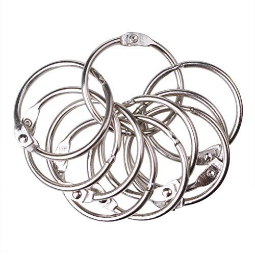 kuou 20 Pcs Metal Book Rings, Loose Leaf Binders Book Rings 25mm Inner Diameter Keychains (Silve)