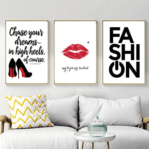 WADPJ Modieuze lippenstift, hoge hakken voor meisjes, linnen, afbeeldingen van Scandinavische kunst, bord en afdrukken voor kinderen, slaapkamer, decoratie voor thuis, 50 x 70 cm, 3 delen zonder lijst