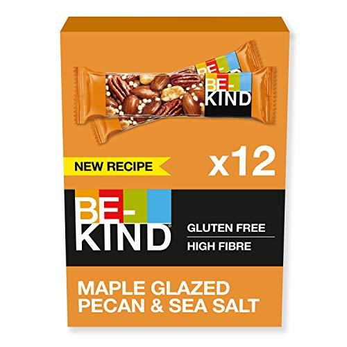 BE-KIND Barrita de nueces pecanas glaseadas en jarabe de arce con sal marina, paquete de 12 unidades