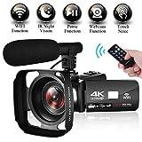 Camescope Caméscope 4K Ultra HD WiFi Camescope de Vision Nocturne à Écran Tactile de 3,0 po Caméra Vidéo avec Microphone...