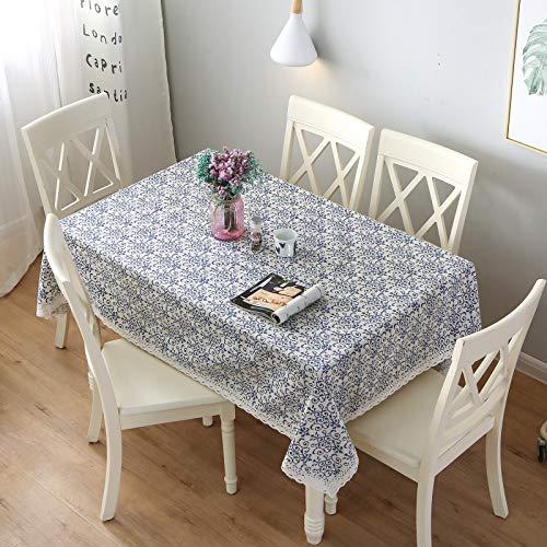 Aonewoe Baumwolle Leinen Tischdecke, Makramee Spitze Tischdecken Leinen, Rechteck Tischdecken (140x200cm)