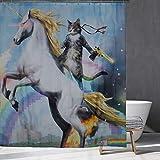Hippie Tier Duschvorhang Katze stehend auf White Horse Regenbogen Duschvorhang Abstrakte künstlerische Duschvorhang, 12 Haken, für Duschraum, Badewanne Dekor (150cm × 180cm)