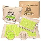 Wild Aries - Esterilla de acupresión con cojín y bolsa, 100 % lino, algodón y fibra de coco, para relajar los músculos, masaje de reflexología del pie