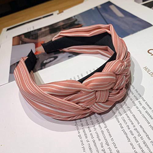 Tony plate Bandeau Coréen Tresse Tissu Bandeau Lunette pour Femmes Rayé Noué Bandeau Large Twist Cheveux Bande Cheveux Accessoires-Rose