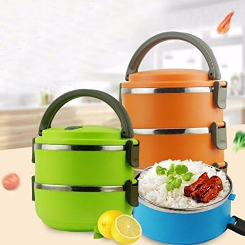 1 2 3 4couches déjeuner Portable contenant à nourriture en acier inoxydable Isolation thermique Lunch Box alimentaire pique-nique Conteneur, vert 4 layer, As shown in Pic