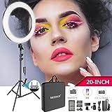 Neewer 20インチLEDリングライトキット:(1)44W調光可能な二色サークルライト(1)ライトスタンド(1)ボールヘッド(1)スマホホルダー(2)リチウムイオンバッテリー(1)USB充電器 肖像撮影、ビデオ撮影、メイク、自撮り撮影に対応