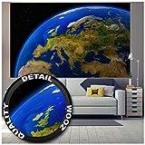 Great Art XXL Poster – Europa am Tag – Ausblick aus dem Weltall Space Universum Welt All Artwork Wandbild Planeten Deko Wanddekoration Wandbild Kontinent Motiv (140 x 100 cm)