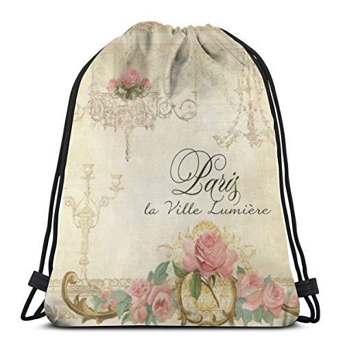 Meius Parchment Romance Roses Parisian Chandelier Mochila con cordón ligero para gimnasio, viajes, yoga, bolsa de hombro para senderismo, natación, playa