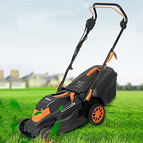 Corded Electric Dethatcher, 1800W Lawn Trimmer with 35L Collection Box and Blade, 5 Level Height Adjustable, Outdoor Push Lawn Sweeper,1800W+20m Wire