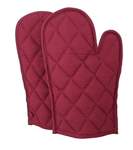 ShalinIndia Cotton Oven Mitts and Pot Holders OG02-2712P Wine Quilted Cotton Oven Gloves 8 x 12 Inch Cooking Gloves for Women