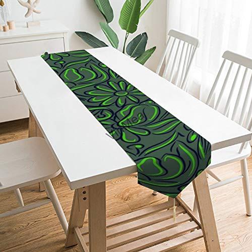 YY-one Camino de mesa estilo casa de granja floral verde gris Navidad...