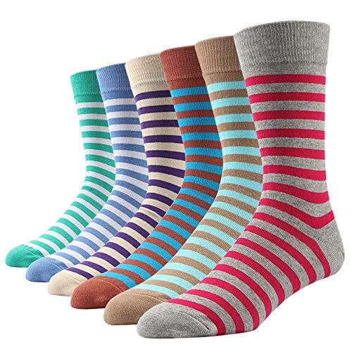 Ezsox 6 Paar Bunt Gemusterte Herren Socken,Streifen süß Europäische Qualität (6 Paar GESTREIFT #107, EU 42-46)
