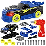 Coogam Take Apart Racing Car with Electric Screwdriver Tool, Fine Motor Skill Toy Car Construction Set STEM Building Learning Game with Lights and Sounds Gifts for 3 Year Old Boys and Girls (26PCS)