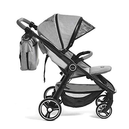 Momon Kinderwagen Tiramisù Mummy & Baby Wot Grey, Leicht, Kompakt, Grau, Vollverstellbar, 0 Monate-25 Kg Zugelassen, All Road, ZUBEHÖR ALLES INKLUSIVE