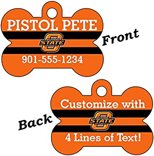 uDesignUSA Oklahoma State Cowboys Double Sided Pet Id Dog Tag Personalized with 4 Lines of Text