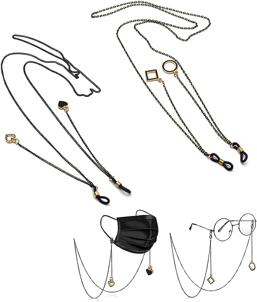 2Pcs 3Pcs 4Pcs eyeglass chain - Mask Holder Chain Lanyard Necklace for Women Men,Black Retainer Strap Holder