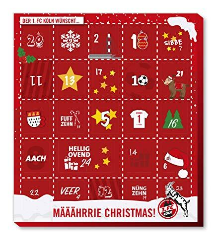 Cologne 1.FC Köln speciale chocolade-adventskalender, kerstkalender met 25 grote chocoladekalers met een leuke verenigingsposter en gratis sticker