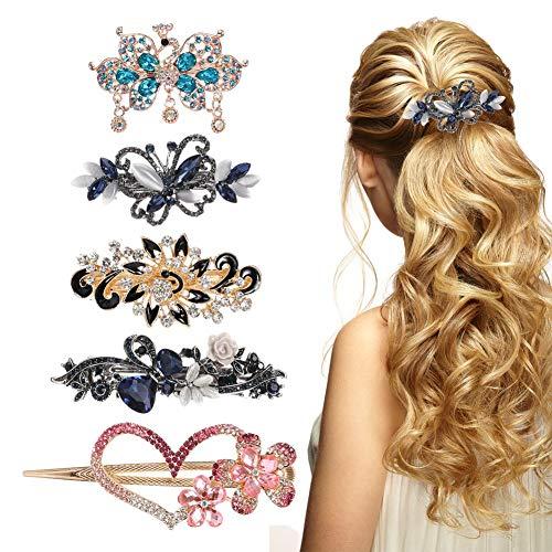hugttt Haarspangen mit Herzen, Blumen, Pfau, Schmetterling, Kristall, Strasssteine, Haarspangen für Frauen und Mädchen, 5 Stück