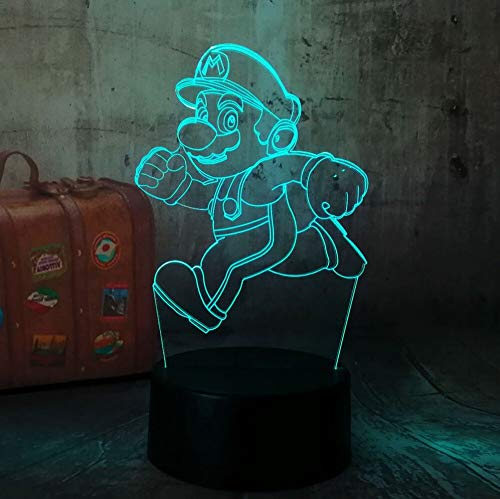 ShiyueNB Cartoon Leuke Running Super Mario Action 3D LED RGB Touch Night Light Figuur 7 kleuren veranderende decoratie Home Party