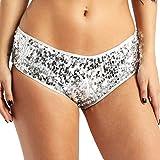 IEFIEL Femme Paillettes Culotte String Stretchy Slip Sequins Bikini sous-Vetement de Danse Sport Shorts Yoga Fitness Underwear S-XL Argenté Medium