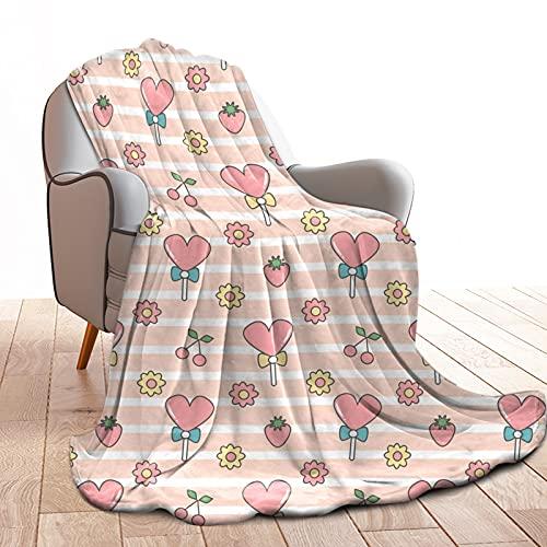 Manta de forro polar rosa con forma de corazón, 130 x 150 cm, cálida y suave, para salón, acogedora, fácil de limpiar, antidecoloración, color rosa