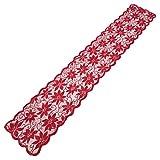XuHang Camino de mesa de encaje de flores rojas para decoración de mesa de Navidad, regalo de Navidad, decoración del hogar