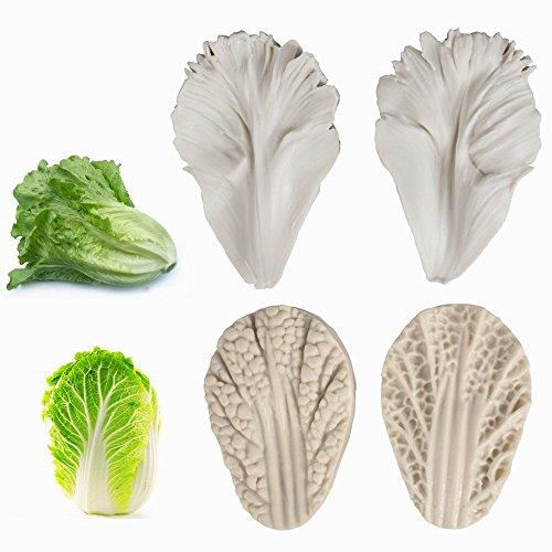 AK ART - Lot de 2 paires de moules à pâte Lactuca Sativa Céleri pour choux fondant veinage, feuilles et légumes, gomme, pâte à modeler à l'argile - Accessoires de décoration de gâteaux VM144&VM136