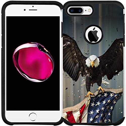 iPhone 7 Plus Hülle, iPhone 8 Plus Hülle, doppellagig, stoßfest, Bumper Schutzhülle, American Bald Eagle Flying with Flag