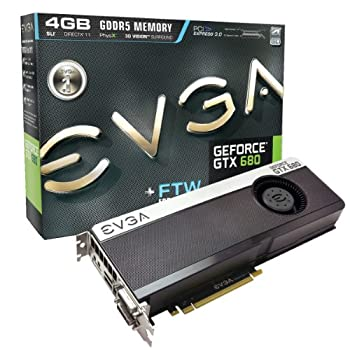 EVGA GeForce GTX 680 FTW 4096MB GDDR5 DVI DVI-D HDMI DisplayPort 4-way SLI Ready Graphics Card  04G-P4-3687-KR  Graphics Cards 04G-P4-3687-KR