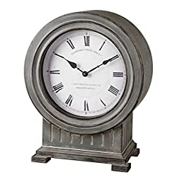 Ribbed Gray Mantel Clock | Contemporary Cottage Table
