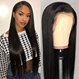 DACHIC 13x4 Lace Front Human Hair Wigs for Women Brazilian Straight Hair Wigs with Baby Hair Glueless Pre Plucked Lace Wigs with Natural Hairline (18 Inch)