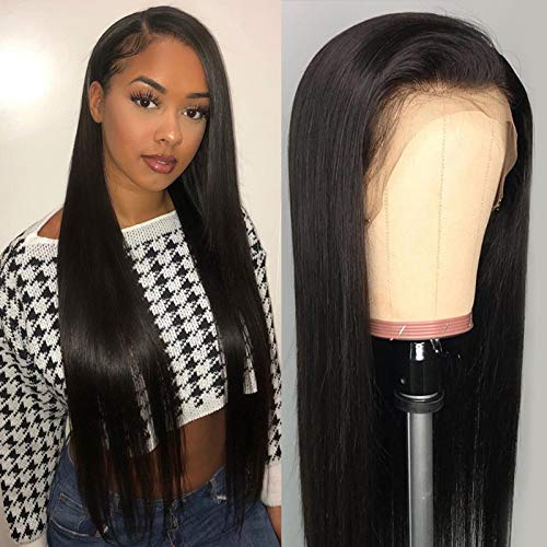 DACHIC 9A Lace Front Wigs Human Hair Wigs for Black Women 150% Density 13x4 Glueless Straight Lace Frontal Wigs Human Hair Pre Plucked Bleached Knots with Baby Hair 24 Inch